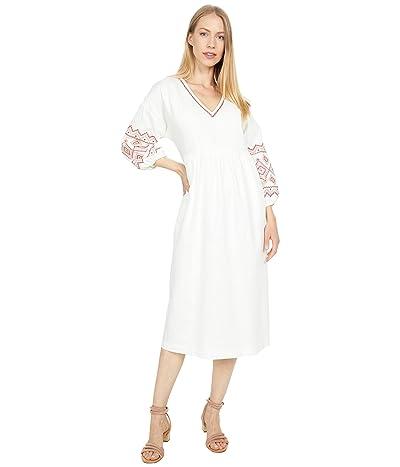Madewell Embroidered Sleeve Popover Midi Dress