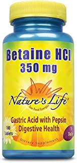 Nature's Life Betaine HCL Supplement 350 mg   Includes 150mg of Pepsin   Healthy Digestive Function Support   100 Tablets