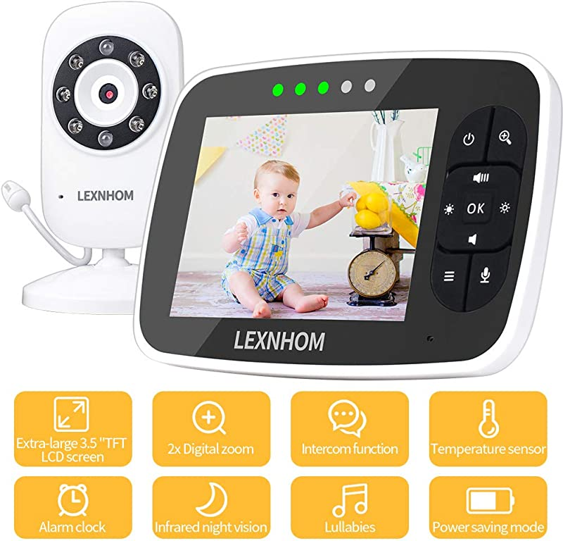 LEXNHOM Video Baby Monitor With Camera And Audio 3 5 Large LCD Screen Infrared Night Vision Temperature Monitoring Lullabies 2 Way Talk