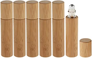 6 Pack Roll On Bottle,10ml Essential Oil Bottle Bamboo Shell,Clear Glass Inner with Stainless Steel Roller Ball Travel Per...