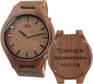 Engraved Wooden Watch with Brown Leather Strap Casual Watches Groomsmen Gifts Wedding Anniversary Gifts for Men Birthday Gift for Husband Boyfriend