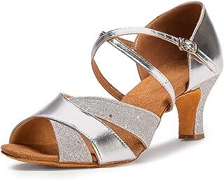 """Ballroom Dance Shoes Women 2.56"""" Dancing High Heel Salsa Shoe Latin Sandals, Silver Gold"""
