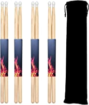 FluTune 5A Drumsticks 4 Pairs Classic Maple Wood Drum Sticks Tip Drumstick Musical Parts for Students and Adults