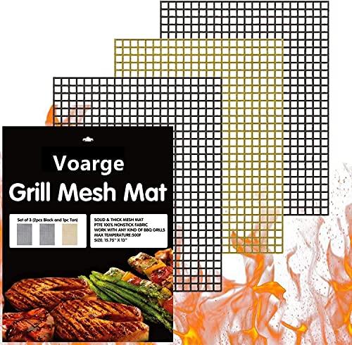 Voarge Grillmatte (3er Set) zum Grillen und Backen, Hitzebeständig Grill Mat für Holzkohle Gasgrill & Backofen Grillen Kochen Backen, für bis 300°C, PFOA frei, extra Groß und langlebig