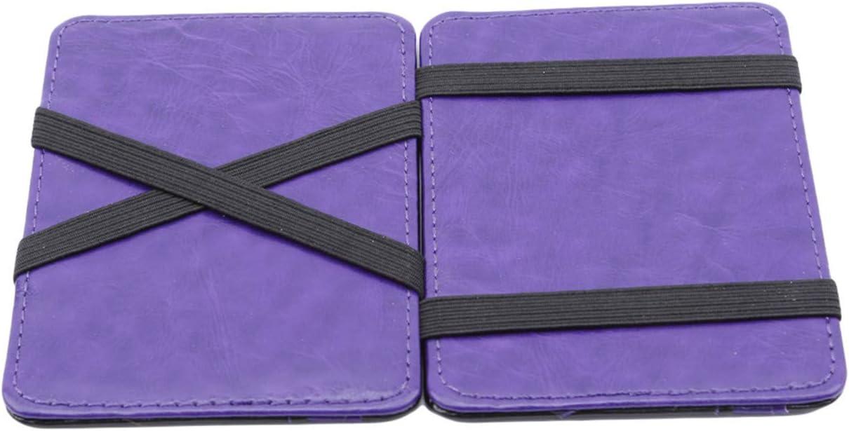 Bigsweety Men Wallets Credit Card Holder Wallet Purse Money Clip, Purple