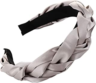 ANJUNIE Satin Braid Hairband,Women Wide Stripes Cloth Cross Knot Hair Hoop Hair Accessories