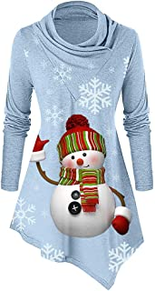 Women Print Pullover Christmas Cowl Collar Snowman Doll Snowflake Long Sleeves Tops Blouse E-Scenery