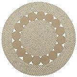 Purity - Alfombra redonda trenzada de algodón natural y yute (120 x 120 cm)