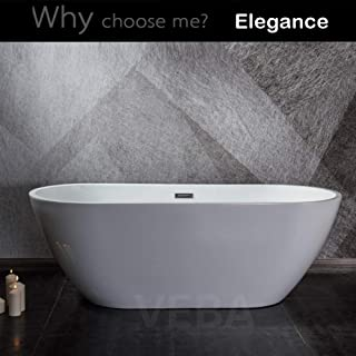55 inch Freestanding Tub, cUPC Certificated, Small Free Standing Acrylic Bathtub with Overflow, Drain and Hose for Soaking SPA, High Glossy White