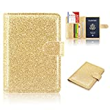 Passport Holder Cover, ACdream Protective Premium Leather RFID Blocking Wallet Travel Case for Passport/Credit Card/Air Ticket, Glitter Gold