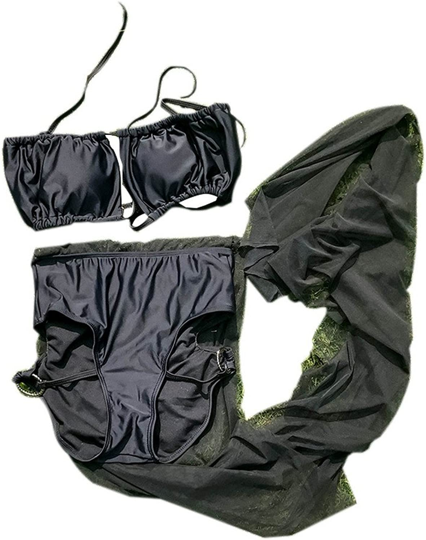 SHUCHANGLE Blaue und Weie Streifen Bikini Fransen Split Badeanzug Damen Nylon Badeanzug