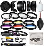 58mm Professional Lens +Filter Kit for DSLR Cameras Featuring HD 0.43x Wide Lens + HD 2.2X Tele Lens + 13 Pcs HD Filter Package + More for Canon Rebel SL1 SL2 T5 T5i T6 T6I T7 T7i Digital SLR Cameras