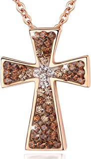 Esottia Criss Cross Necklace Swarovski Crystals Pedant...