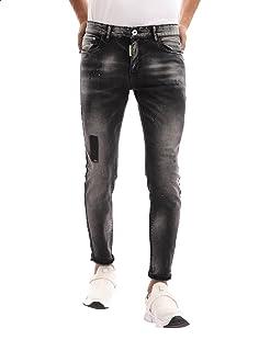 Andora Whiskered Contrast Dot Slim-Fit Denim Pants for Men