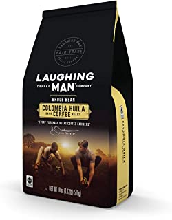 LAUGHING MAN Colombia Huila, Whole Bean Coffee, Dark Roast, Bagged 18 Ounce