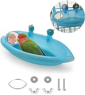 TSHAOUN Oiseau Bain Bird Bath Douche Nettoyage Baignoire Bol Bassin avec Miroir Suspendu D'oiseau Animaux Petits Oiseaux J...