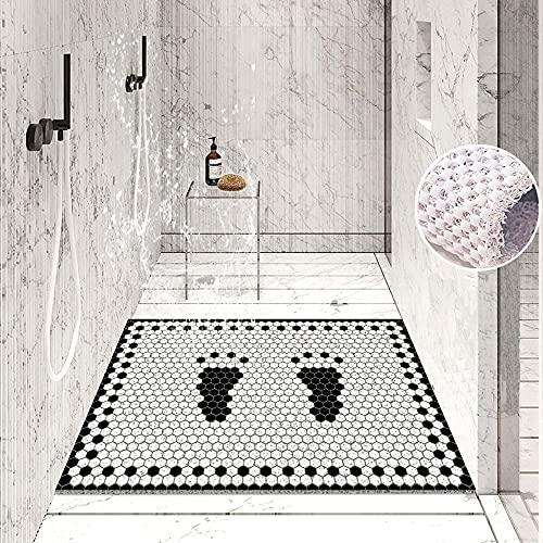 Tapis de douche antidérapant, tapis de bain, tapis de baignoire, tapis de douche, tapis antidérapant, coupe libre, 60 x 40 cm, respirant, lavable en machine, pour enfants et personnes âgées