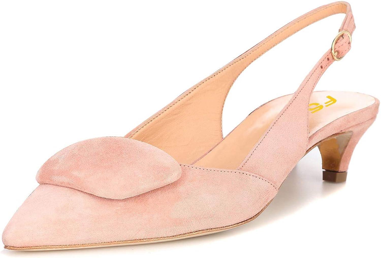 FSJ Women Cute Pointy Toe Slingback Pumps Kitten Low Heels Sandals Comfort Work shoes Size 4-15 US