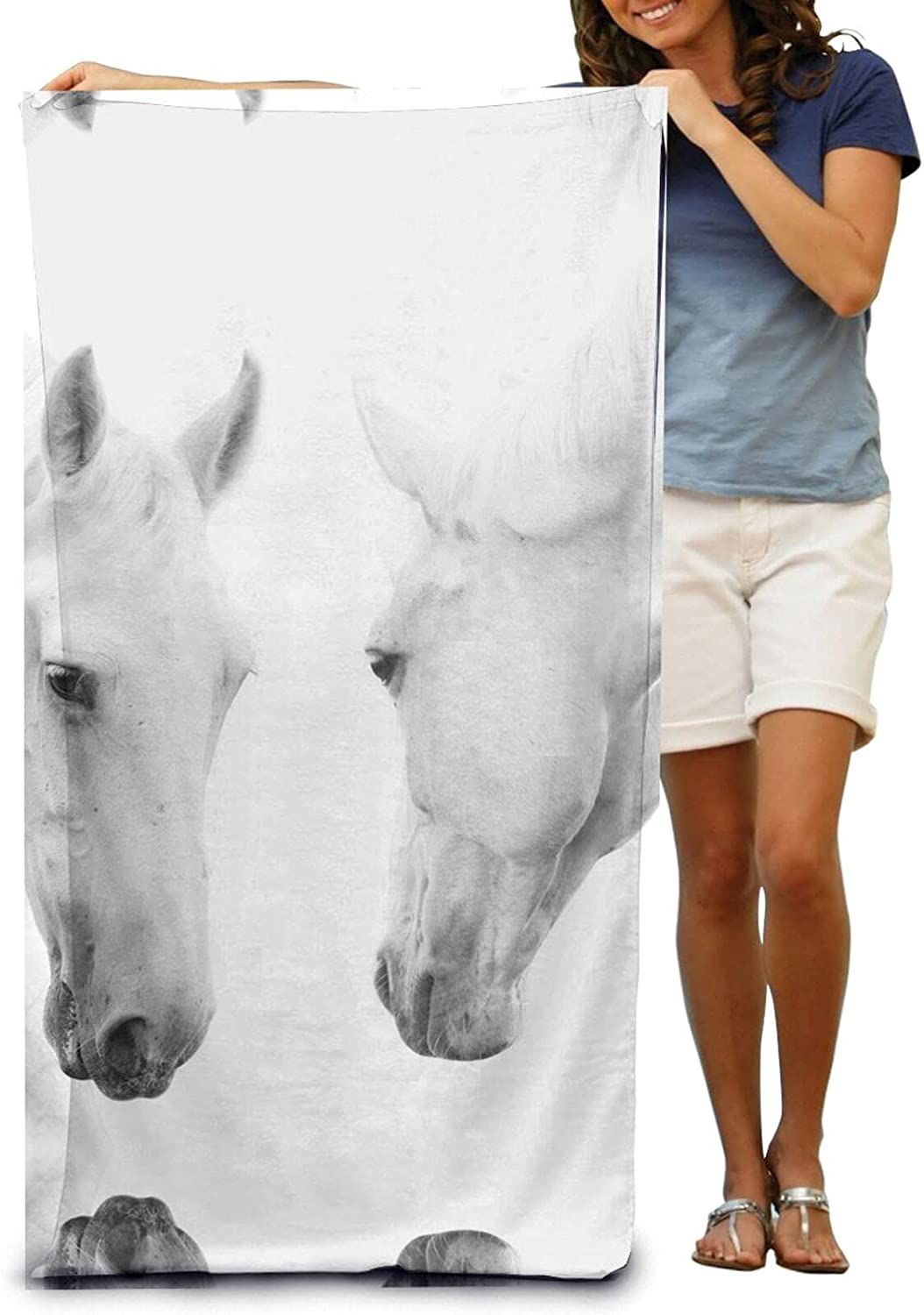 White Horses Print Beach Be super welcome Towels Microfiber Quick and 4 years warranty Soft