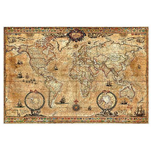 Puzzel Adult -Vintage World Map Raadsel -Houten 1000 Stuks-HD Printing -Met speciale lijm for Jigsaw-kinderen Educatief speelgoed Gift ( Size : 1000 Pieces )