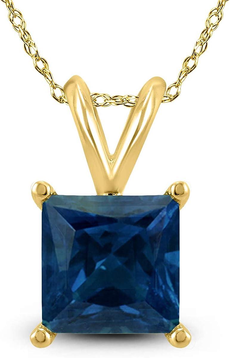 14K Yellow Gold 5MM Square Sapphire Pendant