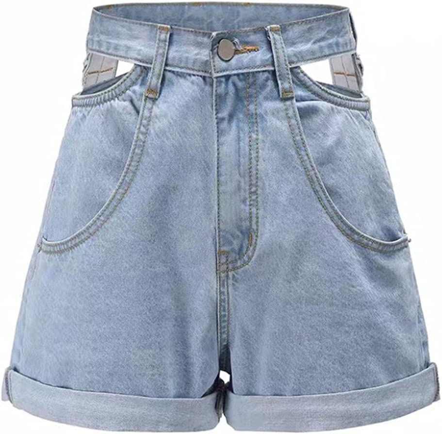 PDGJG High Waist Denim Shorts Women Jeans Hollow Out High Waisted Wide Leg Shorts Female Streetwear (Color : Blue, Size : XL-Code)