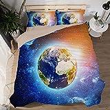 Gabapipa Juego de Cama para niños, 3D Galaxy, King Size, Tierra Cielo Estrellado Funda Nórdica y Funda de Almohada, para Niños Chicos Chica 200 x 200 cm