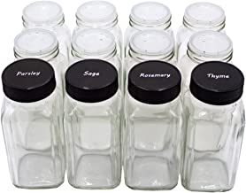 U-Pack 12 pieces of French Square Glass Spice Bottles 6 oz Spice Jars with Black Plastic Lids, Shaker Tops, and Labels by U-Pack
