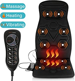 Relief Expert Car Seat Back Massager Chair Pad with 10 Motors, Heat, 5 Modes for Car, Home, Office
