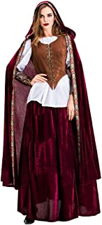 Ladies Halloween Cosplay Retro Little Red Riding Hood Witch Medieval Court Dress Vintage Style Middle Ages