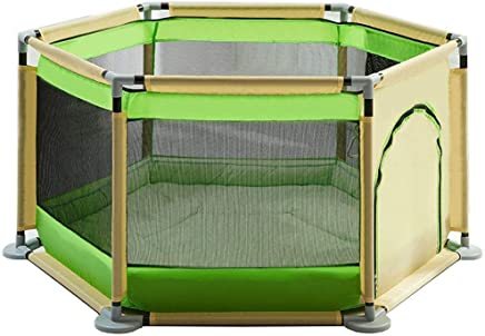WJSW Baby Play Fence Child Protection Playpen Home Indoor Playground  color Green