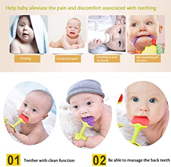6 Pack Teethers for Babies 0-12 Months - BPA Free Natural Organic Freezer Safe Silicone Teething Toys, Infants, Toddl...