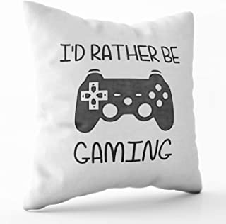 Shorping Zippered Pillow Covers Pillowcases 18X18 Inch Halloween id Rather be Video Gaming Decorative Throw Pillow Cover,Pillow Cases Cushion Cover for Home Sofa Bedding