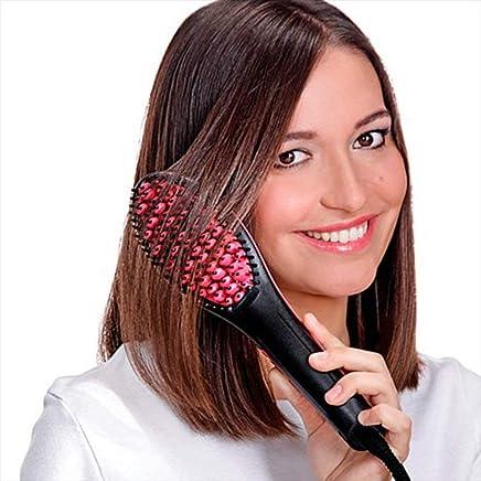 Hemiza 2 in 1 Hair Straightener Brush with Temperature (Assorted Color)