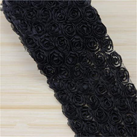 Baby Pink 1 Meter 3D Chiffon Rose Flower Lace Edge Trim Ribbon 9cm Width Multicolour Trimming Vintage Fabric Embroidered Applique Sewing Craft Wedding Bridal Dress Embellishment DIY Party Clothes