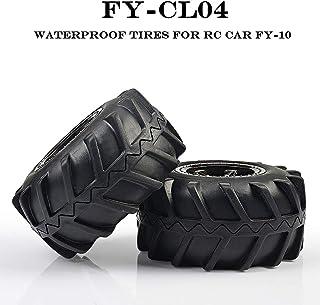 INGQU 2-Pack TPE Rubber RC Car Diameter 4.09 inch Tires ABS Rim Wheel 1:12 Scale Vacuum Waterproof Tires