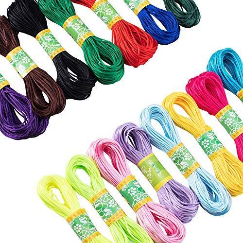 PandaHall Elite 15 colores 300 yardas cordón de nailon satinado 1,5 mm cuerda de seda para collar de macramé, pulsera y abalorios, cordón para hacer joyas