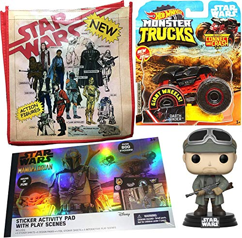 Hot Wheels Monster Vader Star Wars Vader Truck Bundled with Retro Iconic Toy Ad Characters Tote Bag + Mandalorian Sticker Activity Pad Use The Force + Solo Figure Tobias Pop Beckett 4 Items