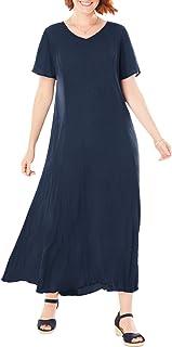 Women's Plus Size Crinkle Dress
