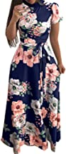TIFENNY Women High Neck Short Sleeve Floral Print Casual Dress with Belt Ladies Fashion Evening Party Maxi Dress Long Dresses