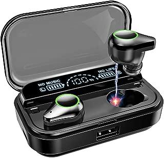【2019第3世代最新版Bluetooth5.0 LED電量表示 最大240時間音楽再生 4000mAH】Bluetooth イヤホン ワイヤレス イヤホン 電量インジケーター付き 信号強化版 最大通信距離45m イヤホン Hi-Fi 高音質 AAC対応 最新bluetooth 5.0+EDR搭載 完全ワイヤレスイヤホン 左右分離型 自動ペアリング 音量調節可能 IPX7完全防水 技適認証済/Siri対応/iPhone & Android対応 ブラック