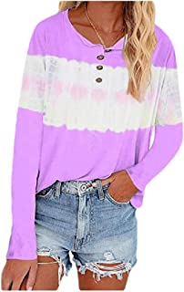 Coolred Womens Long Sleeve Plus-size Tie-Dye Buttoned Blouse Casual Weekend Tees