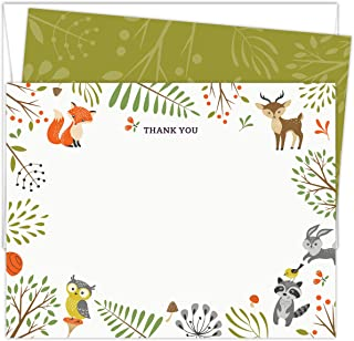 "Woodland Animals Baby Shower Thank You Cards. Set of 25 5.5"" x 4.25"" Flat Note Cards and A2 White Envelopes. Printed on Heavy Card Stock."