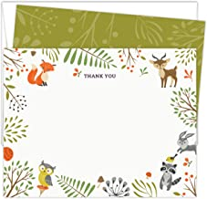 """Woodland Animals Baby Shower Thank You Cards. Set of 25 5.5"""" x 4.25"""" Flat Note Cards and A2 White Envelopes. Printed on Heavy Card Stock."""