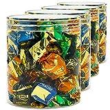 Luxury & Grace Pack 4 Barattoli di Polietilene Alimentare, 0,70 L (11,5x10cm). Contenitori con Coperchi Trasparente in Polietilene. Riciclabili. 100% Senza BPA.