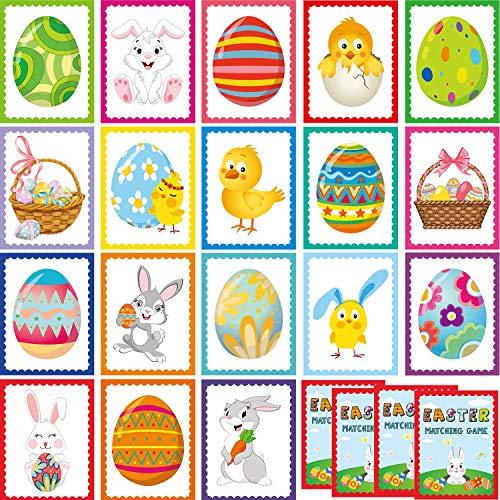 36 Piezas Cartas de Juego de Hacer Parejas de Pascya Cartas de Conejo Huevos Patrones Variados para Niños Niñas Adultos Materiale de Juego de Memoria Eduactivo, 18 Estilos