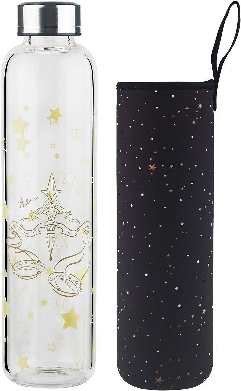 DEARRAY Botella de vidrio borosilicato con estampado de 12 constelaciones 500ml / 1000ml / 1 Litro, Botella de Agua de Cristal con Funda de Neopreno y Elegante Tapa de Acero Inoxidable(Libra,500ml)
