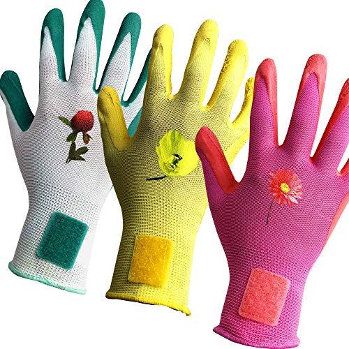 Keli France - K•Protect, 3 paia di guanti da giardinaggio e da lavoro da donna brevettati NoLost, con rivestimento in lattice, taglia 8/M, EN388:2016 (2131X), EN420:2003, .