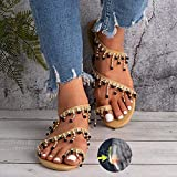 TTW Sandalias Planas con Cuentas de Las Mujeres Anillo de Punta de Fiesta de Perlas Sandalias de Verano de Bohemia Casuales Zapatos de Boda Chanclas Zapatos de Playa con Punta de Clip,A,38