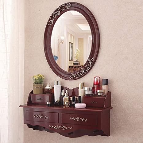 Amazon Com Totovy Wall Mounted Dressing Table Mirror Small Apartment Bedroom Korean European Modern Minimalist Mini Red Pastoral Dressing Table Dressing Table Multifunctional Cosmetic Storage Room